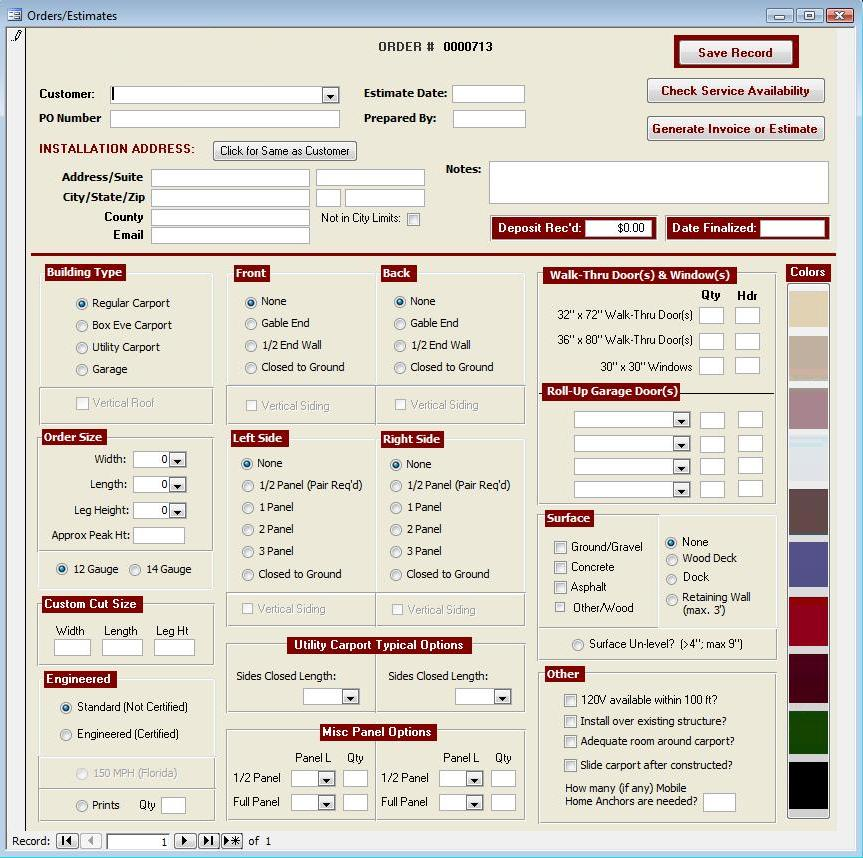 Example of a Microsoft Access Estimating application