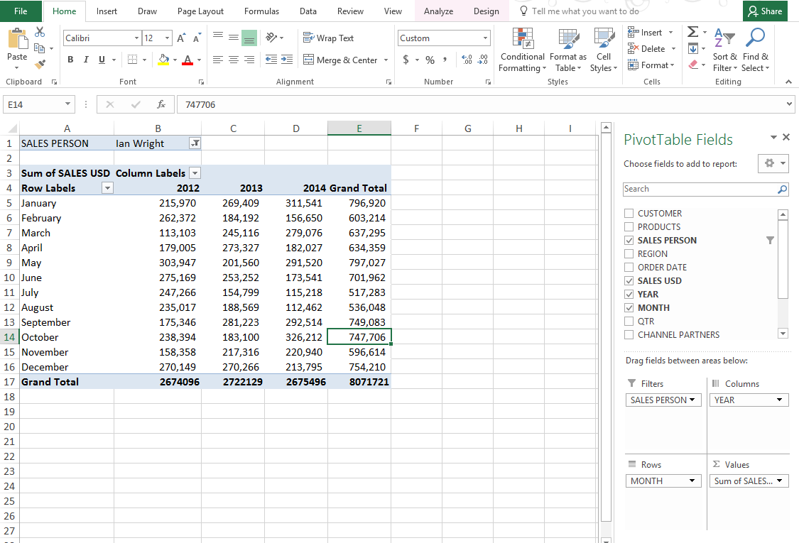 Diagram collection excel 2013 pivot table totals for Table design tab excel