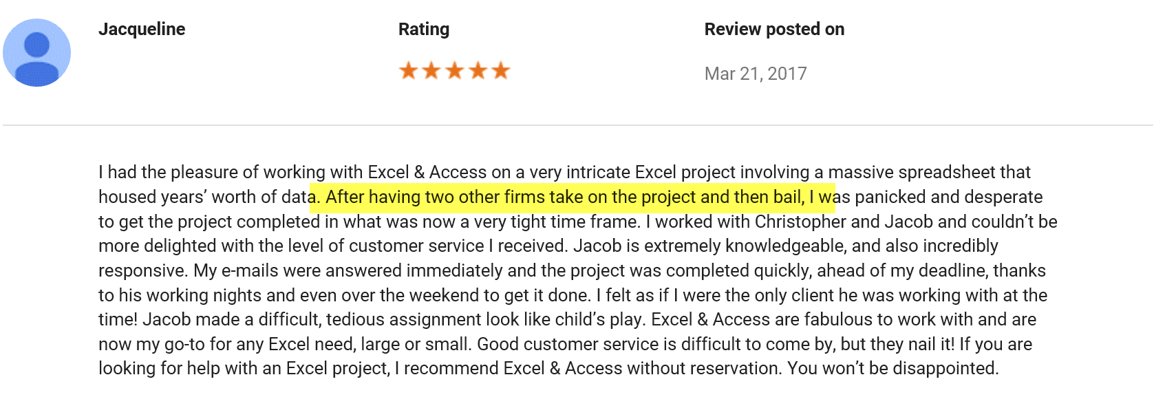 Excel and Access testimonial