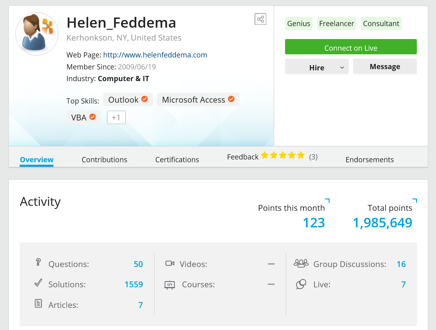 Helen Feddema's Experts-Exchange.Com Certifications