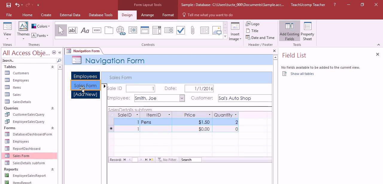 The Microsoft Access forms create a user interface