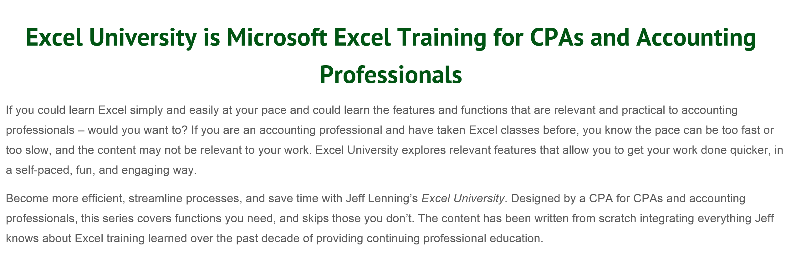 CPA's need CPE's, Jeff's Excel University offers CPE's via his free Excel Training webinars