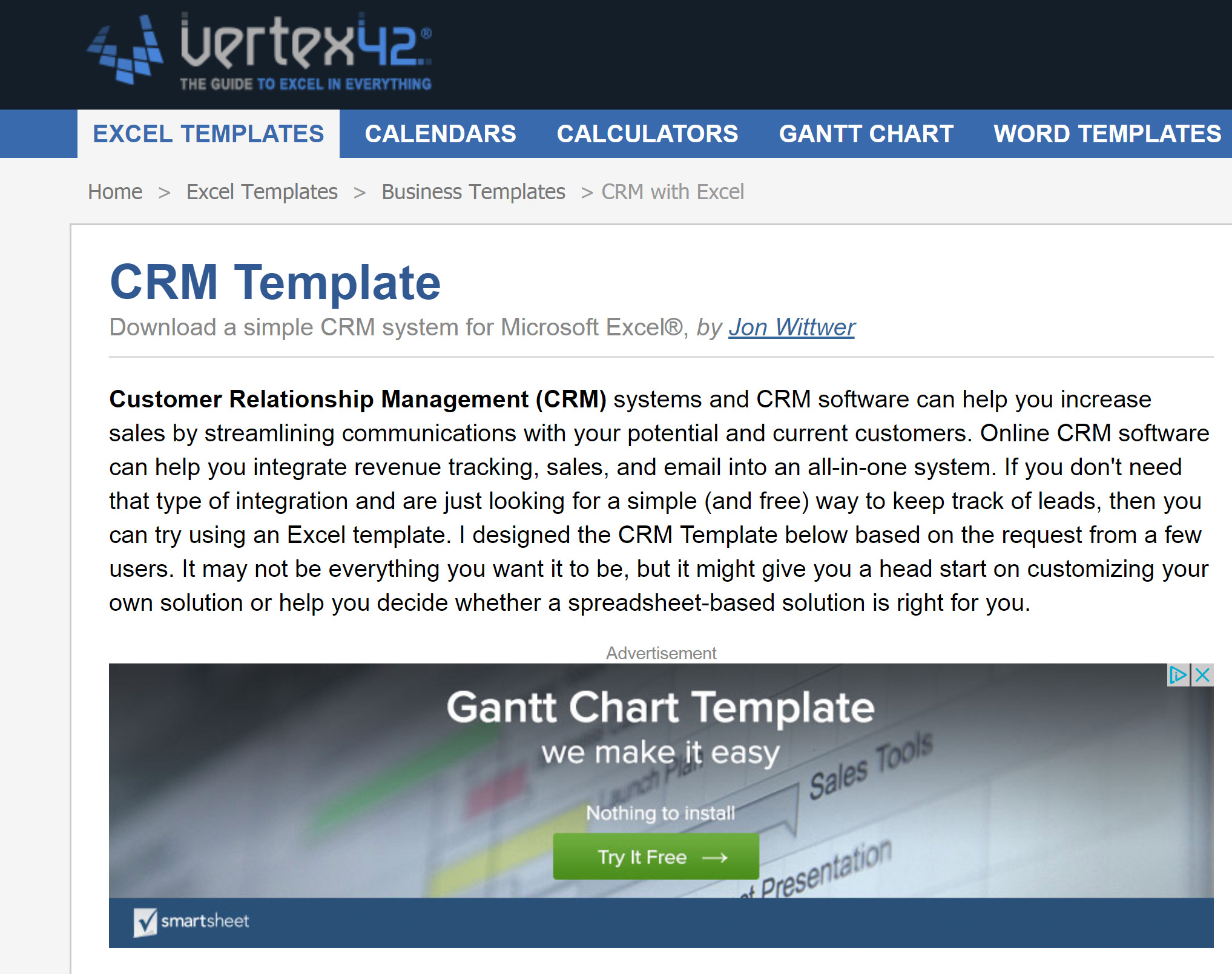Download a simple CRM system for Microsoft Excel®, by Jon Wittwer