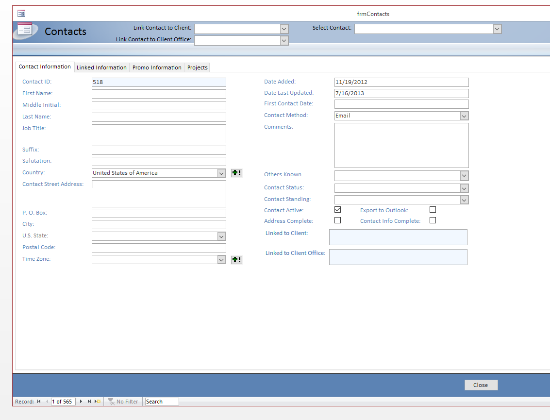 Excel and Access, LLC CRM examples