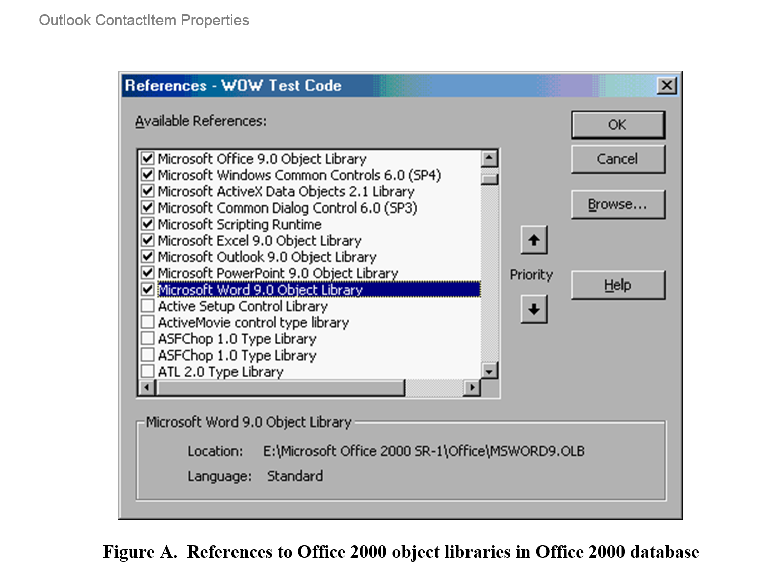 Figure A.  References to Office 2000 object libraries in Office 2000 database