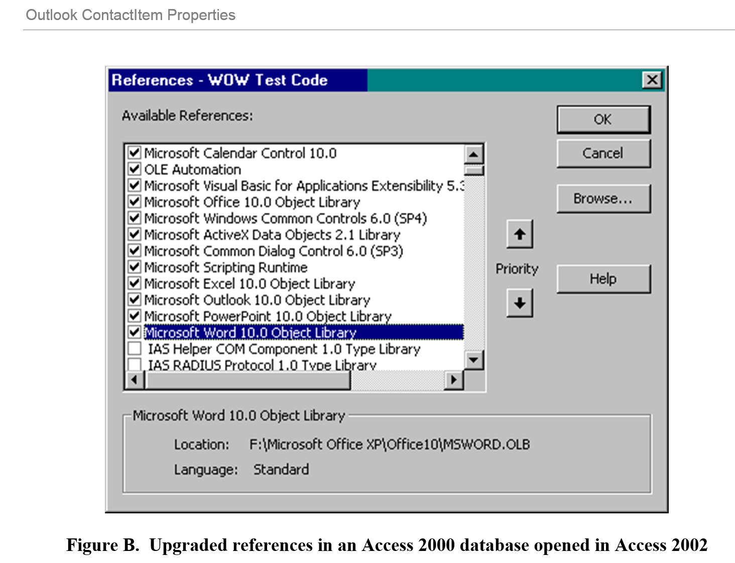 Figure B.  Upgraded references in an Access 2000 database opened in Access 2002