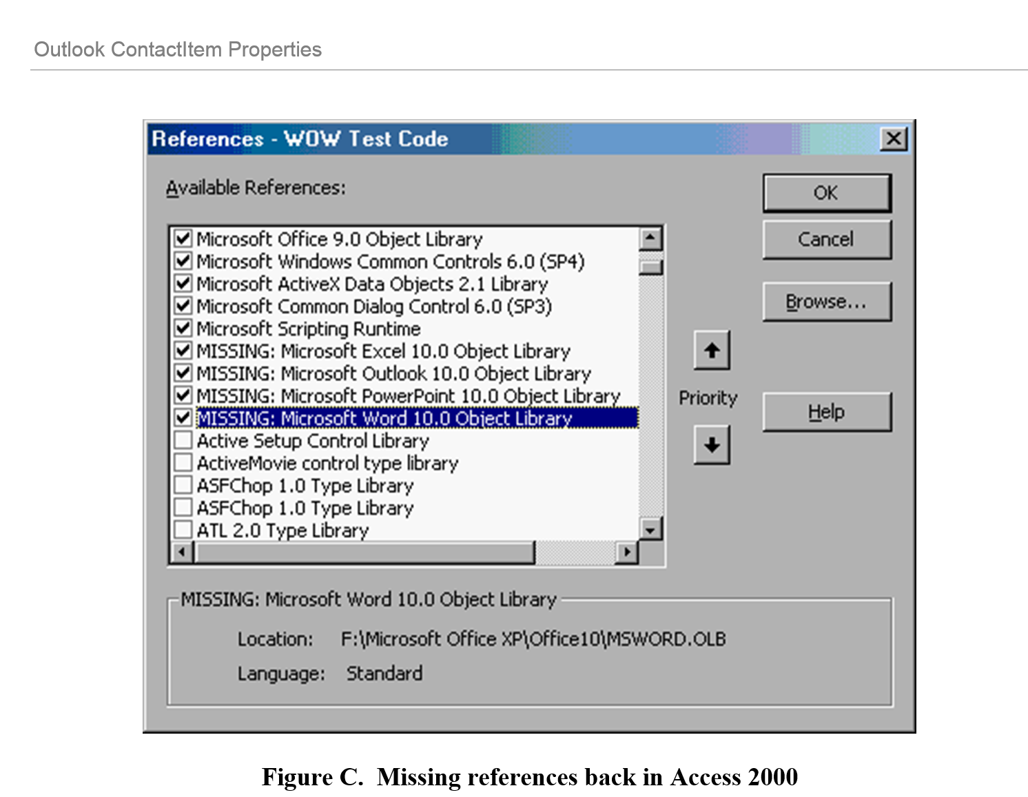Figure C.  Missing references back in Access 2000