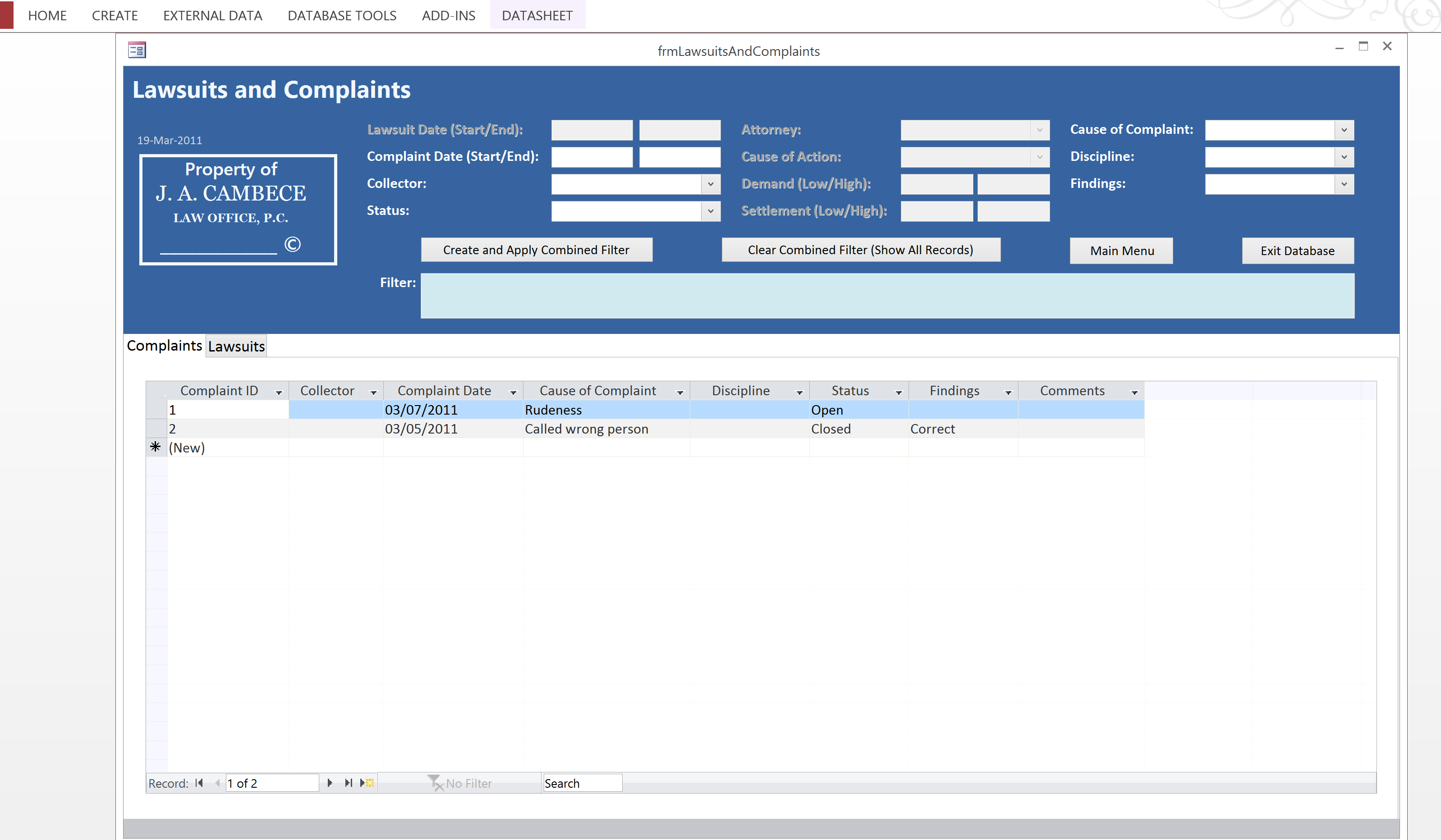 Microsoft Access Forms Graphical User Interface