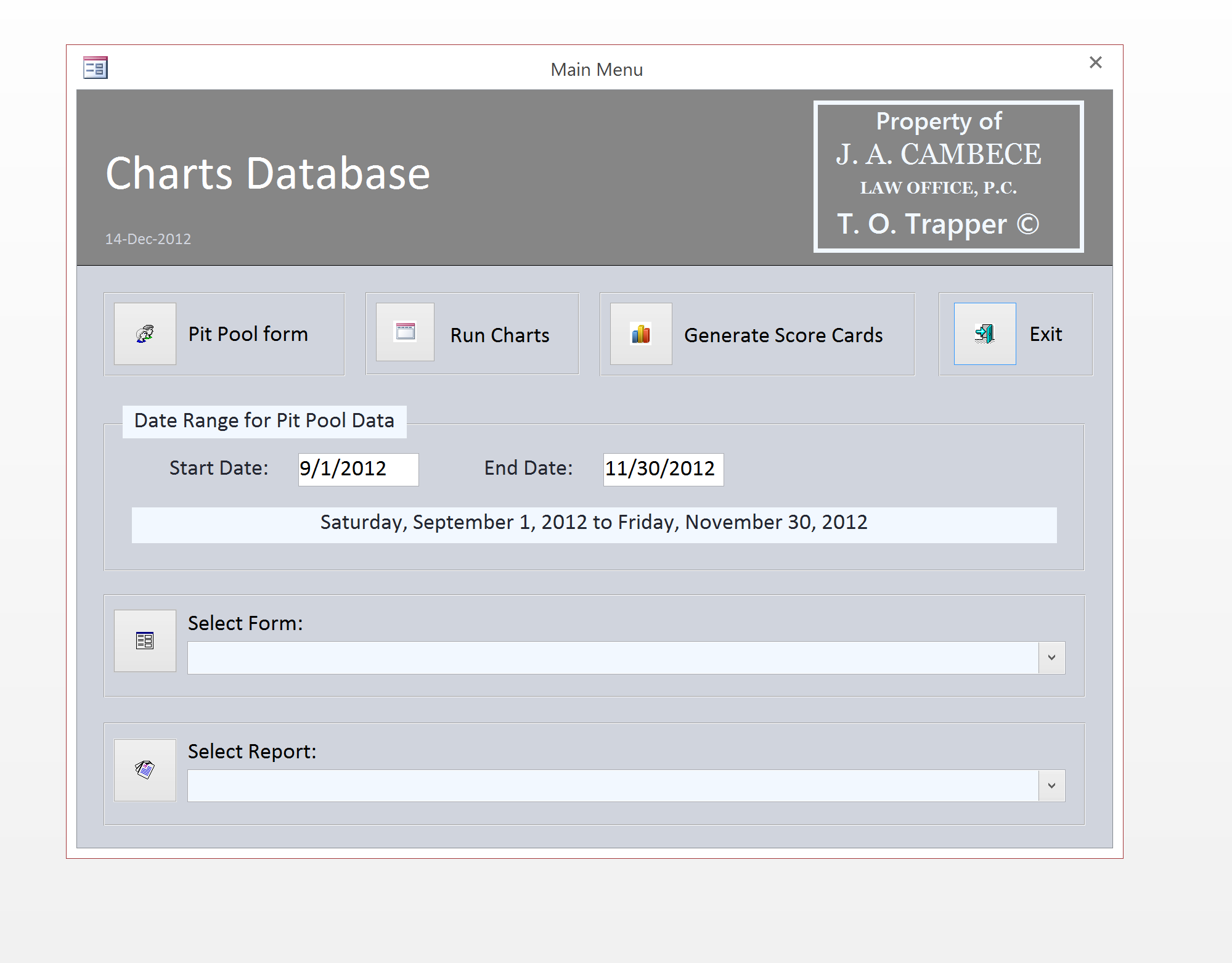 MS Access Forms interface creates a nice user experience.