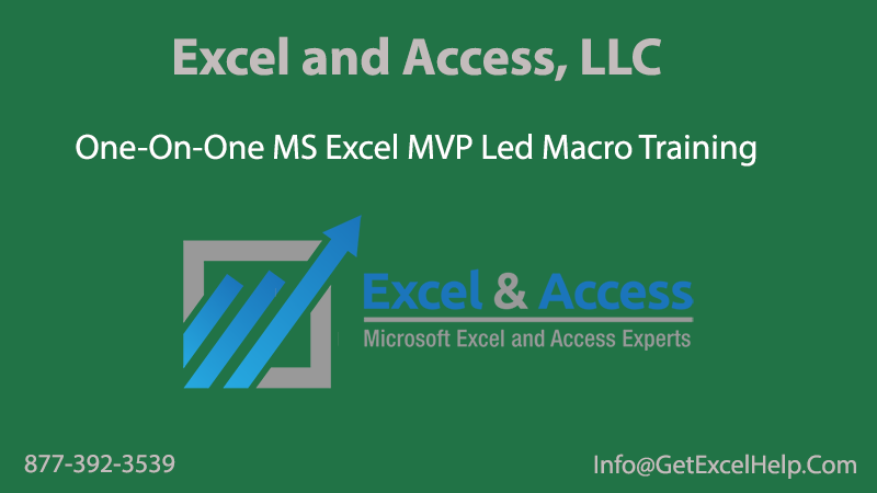 Excel and Access, LLC One-On-One Microsoft Excel VBA Training